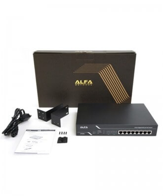 Alfa 8-poorts (8x PoE) Gigabit Rackmountable Switch