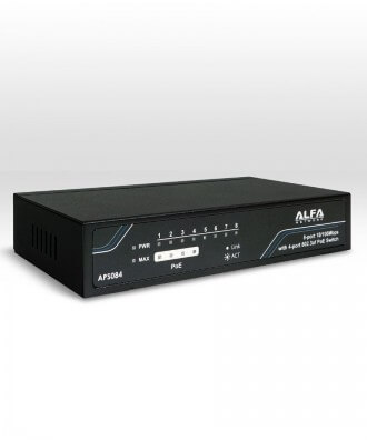 Alfa 8-poorts (4x PoE) 10/100 Desktop Switch