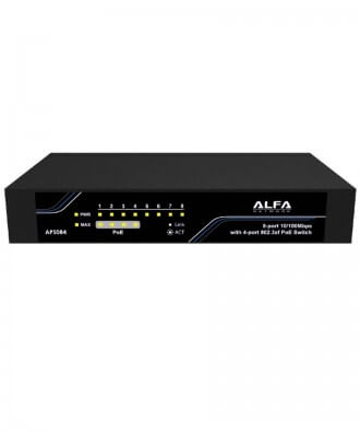 Alfa 8-poorts (4x PoE) 10/100 Desktop Switch